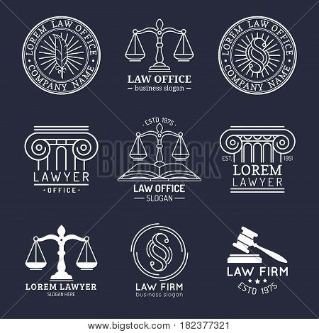 Law office logotypes set with scales of justice, gavel etc illustrations. Vector vintage attorney, advocate labels, juridical firm badges collection. Act, principle, legal icons design.