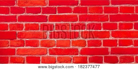 Stained Uneven Old Stucco Painted Red Brick Wall. Abstract Brickwall Background Texture. Reclaimed Wall Design Home House Interior Close up Wide Web Banner With Copy Space