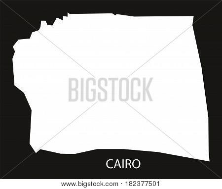 Cairo Egypt Map Black Inverted Silhouette Illustration