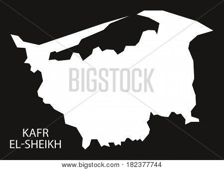 Kafr El-sheikh Egypt Map Black Inverted Silhouette Illustration