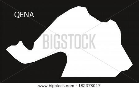 Qena Egypt Map Black Inverted Silhouette Illustration