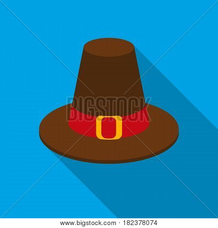 Pilgrim hat icon in flate style isolated on white background. Canadian Thanksgiving Day symbol vector illustration.