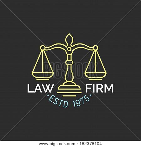 Law office logo with scales of justice illustration. Vector vintage attorney, advocate label, juridical firm badge. Act, principle, legal icon design.