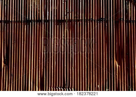 Rusted corrugated shed wall amongst farmyard buildings