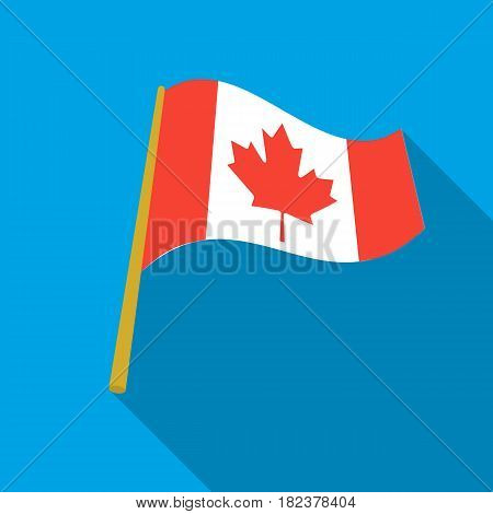 Canadian flag icon in flate style isolated on white background. Canadian Thanksgiving Day symbol vector illustration.