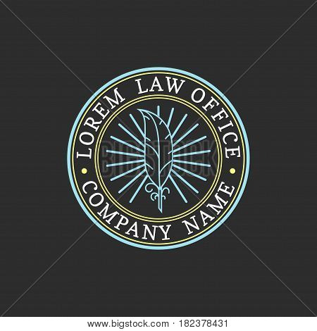 Law office logo. Vector vintage attorney, advocate label, juridical firm badge. Act, principle, legal icon design