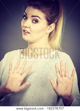 Woman Deny Something Showing Stop Gesture With Hands