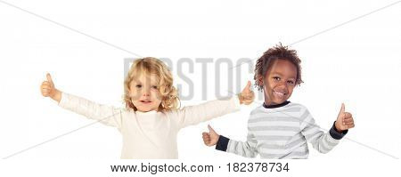 Two funny children saying Ok isolate on a white background