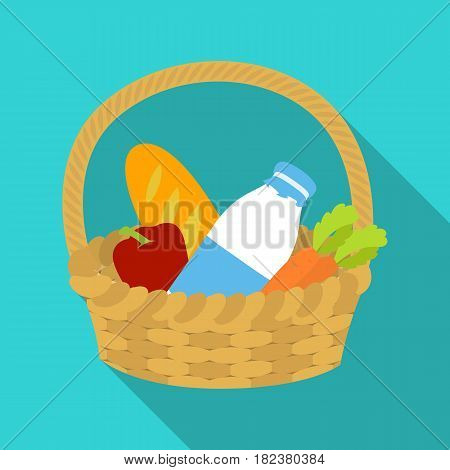 Basket with products icon in flate design isolated on white background. Charity and donation symbol stock vector illustration.