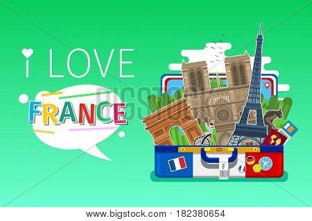 Concept of travel to France or studying French. French landmarks in open suitcase. Tourism in France. Flat design, vector illustration