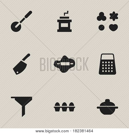 Set Of 9 Editable Cooking Icons. Includes Symbols Such As Shredder, Mocha Grinder, Dough And More. Can Be Used For Web, Mobile, UI And Infographic Design.