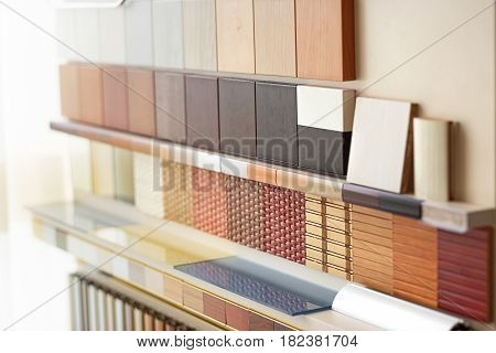 Stand laminated dsp in furniture store in home improvement warehouse exterior laminated chipboards color palette and texture for furniture sample stand of laminated chipboards boards hardware store.