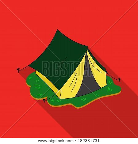 Yellow tent icon in flat design isolated on white background. Family holiday symbol stock vector illustration.