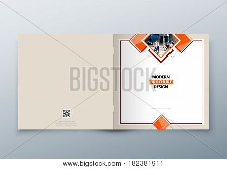 Square Brochure design. Corporate business template for rectangle brochure, report, catalog, magazine. Corporate Business Annual Report Cover, Biege brochure or flyer design
