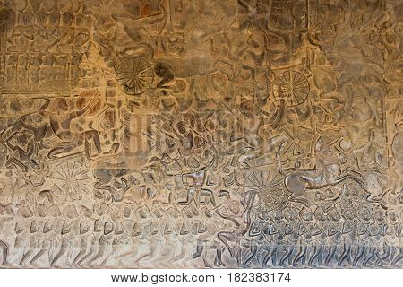 Siem Reap, Cambodia - Feb 5 2015: Relief At Angkor Wat. A Famous Historical Site(unesco World Herita