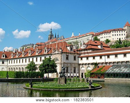 Waldstein Palace In Prague. Czech Republic. Prague Attractions. Patio And Fountain.