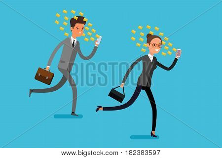 Concept of Smartphone addiction. Businessman and business woman are walking on the street, looking at the screen of phone. Work on the move. Flat design, vector illustration.