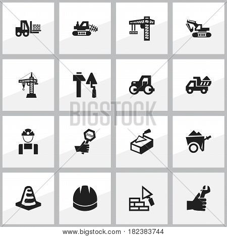 Set Of 16 Editable Construction Icons. Includes Symbols Such As Camion, Spatula, Lifting Equipment And More. Can Be Used For Web, Mobile, UI And Infographic Design.