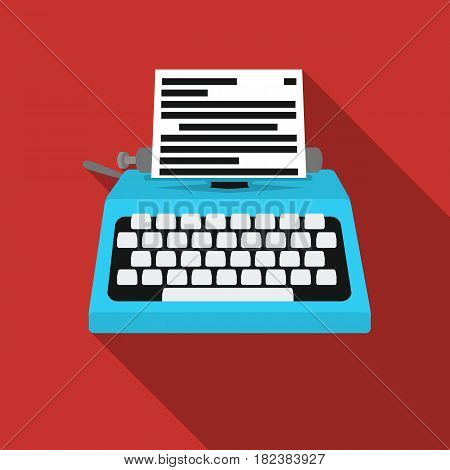Typewriter icon in flat style isolated on white background. Films and cinema symbol vector illustration.