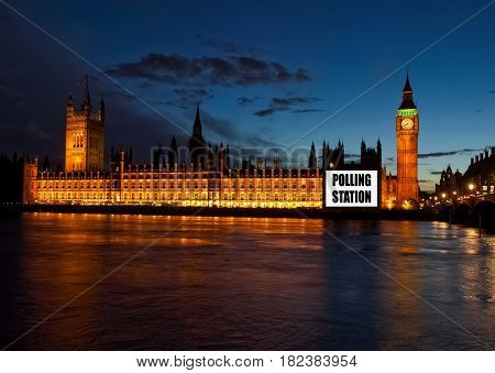 Houses of Parliament as a Polling station (place for voters to cast ballots in general elections)