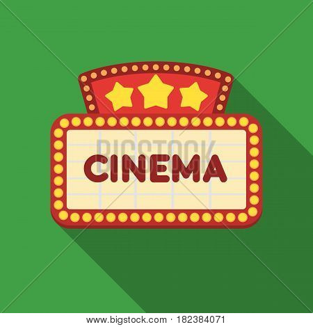 Cinema signboard icon in flat style isolated on white background. Films and cinema symbol vector illustration.