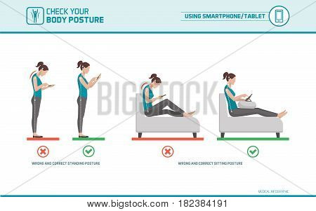 Smartphone and tablet ergonomics: how to use mobile devices correctly when standing and sitting posture correction