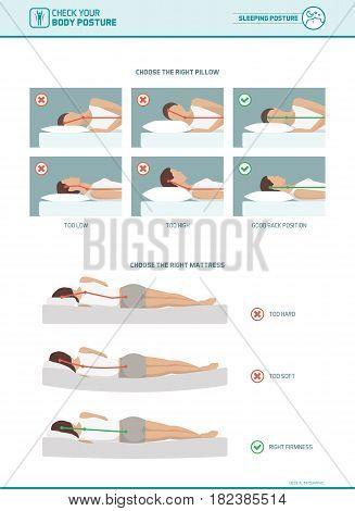 Correct sleeping ergonomics and body posture mattress and pillow selection infographic