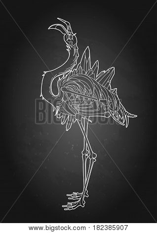 Graphic crystallizing demonic flamingo. Shabby bird with open skull and bones. Vector fantasy art isolated on the chalkboard