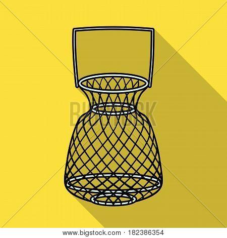 Fishing net icon in flat design isolated on white background. Fishing symbol stock vector illustration.
