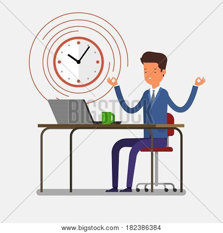 Concept of deadline. Business meditation. Cartoon business man meditates. Concept of peace in mind. Flat design