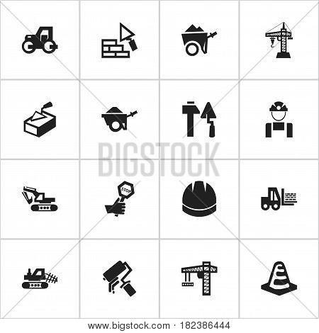 Set Of 16 Editable Building Icons. Includes Symbols Such As Endurance, Notice Object, Spatula And More. Can Be Used For Web, Mobile, UI And Infographic Design.