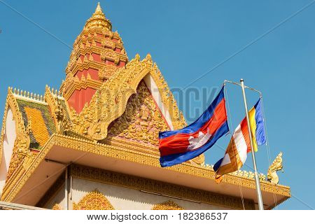 Phnom Penh, Cambodia - Jan 31 2015: Wat Ounalom. A Famous Historical Site In Phnom Penh, Cambodia.