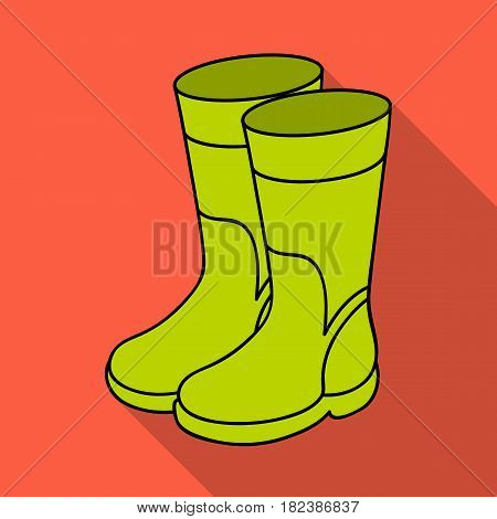 Rubber boots icon in flat design isolated on white background. Fishing symbol stock vector illustration.