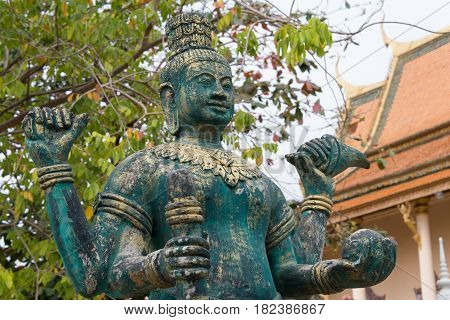 Phnom Penh, Cambodia - Jan 30 2015: Budda Statue At Wat Saravan. A Famous Historical Site In Phnom P