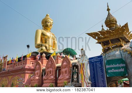 Chiang Rai, Thailand. - Mar 1 2015: Budda Statues At Golden Triangle. A Famous Tourist Spot In Chian