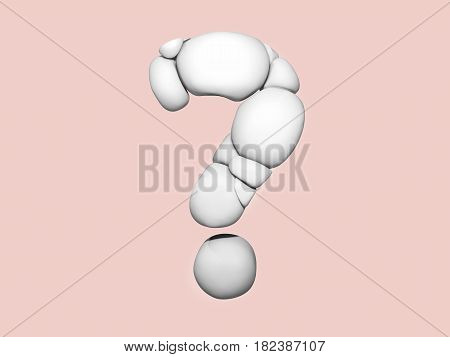 3D illustration of question mark sign. Abstract bubbles in a shape of a question mark.