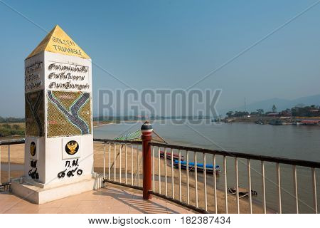 Chiang Rai, Thailand. - Mar 1 2015: Golden Triangle. A Famous Tourist Spot In Chiang Saen,  Chiang R