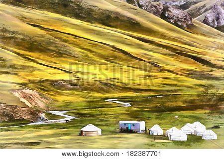 Colorful painting of yurt in Tash Rabat mountain valley Kyrgyzstan