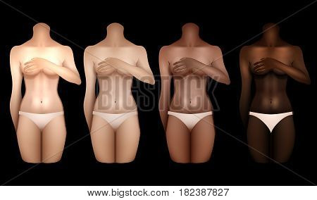 Girls with different skin colors covering their chests with hands. Woman bodies colledtion in white lingerie. Front view. Vector template for tattoo design isolated on black background
