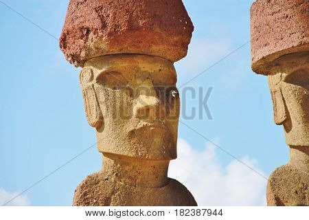 Fragment of Moai statue at the Anakena beach, Easter Island, Chile
