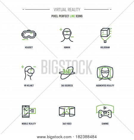 VR icon set. Line style thin and thick outlines vector. Glasses headset helmet 360 degrees icon joystick and other objects related to virtual reality. Pixel perfect 64x64 pixels icons.