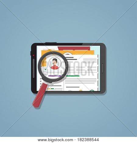 Set of CV on tablet in flat style for recruitment. Search engine system resume of different people to choose employee for your post. The concept of hiring for with magnifier.