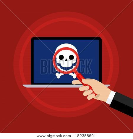 Concept of detection of the virus, piracy, hacking and security. Hand holding a magnifying glass. Laptop with malicious content and skull on the screen. Flat design, vector illustration.