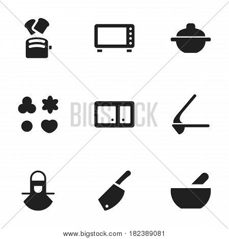 Set Of 9 Editable Meal Icons. Includes Symbols Such As Shortcake, Sideboard, Crusher And More. Can Be Used For Web, Mobile, UI And Infographic Design.