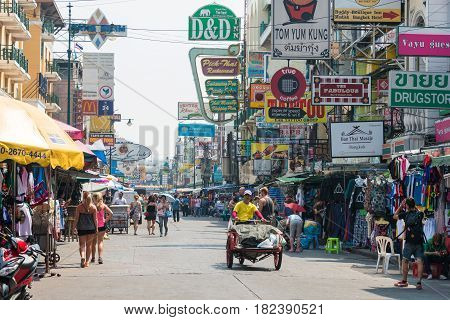Bangkok, Thailand. - Feb 10 2015: Khaosan Road. A Famous Backpacker Street Khao San In Bangkok, Thai