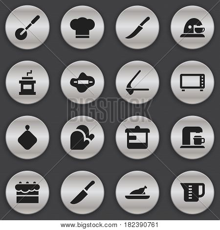 Set Of 16 Editable Cook Icons. Includes Symbols Such As Pastry, Cook Cap, Oven And More. Can Be Used For Web, Mobile, UI And Infographic Design.