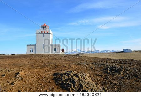 Dryholaey Lighthouse in the southern most part of Vik Iceland.