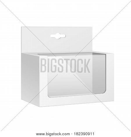 White Horizontal Product Package Box With Window and Hang Slot. Blank On White Background Isolated. Mock Up Template Ready For Your Design. Product Packing Vector EPS10
