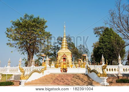 Mae Sai, Thailand. - Feb 26 2015: Pagoda At Wat Phra That Doi Wao. A Famous Temple In Mae Sai, Thail