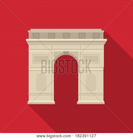 Triumphal arch icon in flat style isolated on white background. France country symbol stock vector illustration. - stock vector